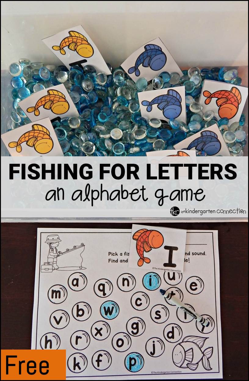 fishing for letters an alphabet game the kindergarten connection. Black Bedroom Furniture Sets. Home Design Ideas
