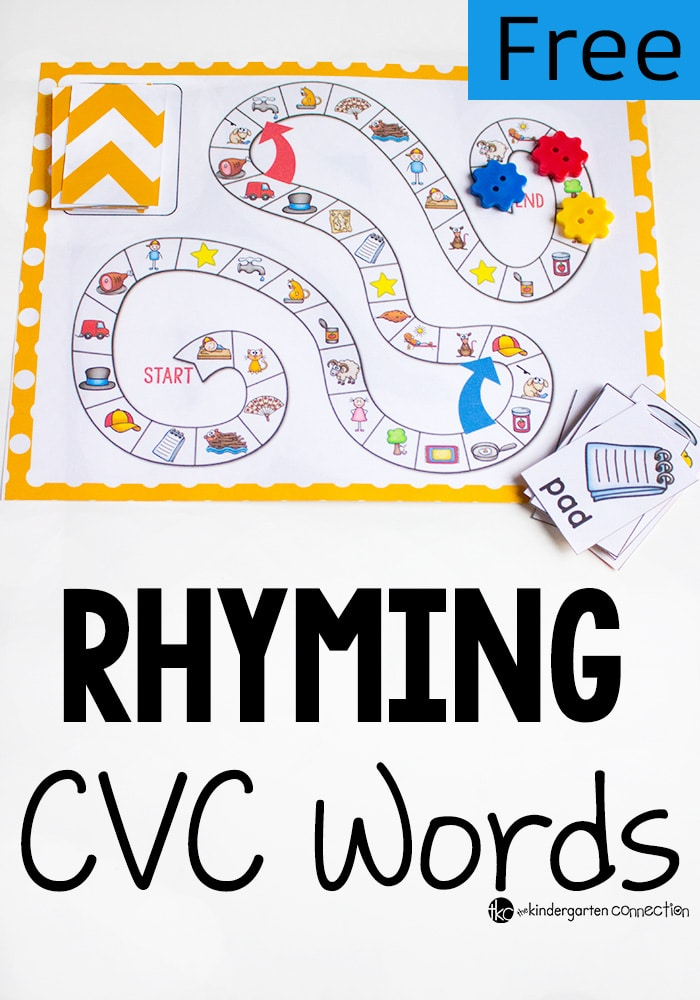 What a fun CVC Rhyming Words board game!