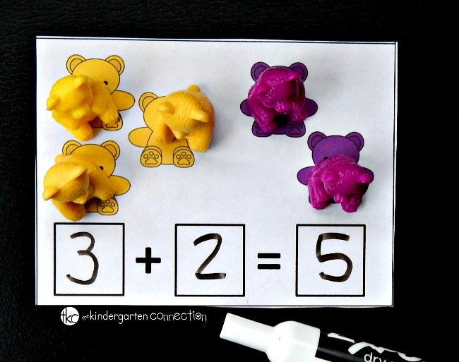 Counting bear addition cards example