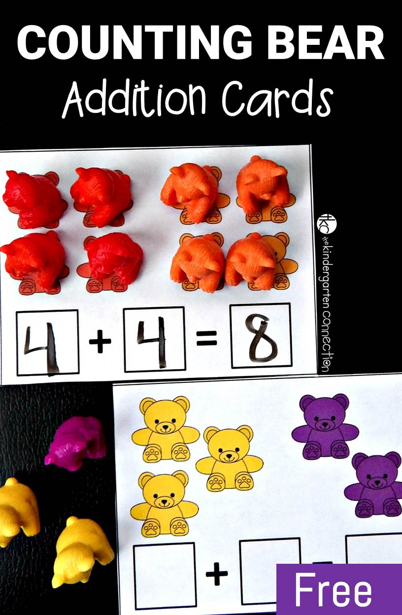 These free counting bear addition cards are a great, hands on way to practice addition and equations to ten. They are perfect for Pre-K or Kindergarten!