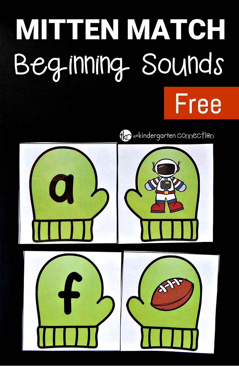 This free mitten match beginning sounds game gives students some fun, seasonal themed practice with learning to identify beginning sounds. It is perfect in a Pre-K or Kindergarten classroom!