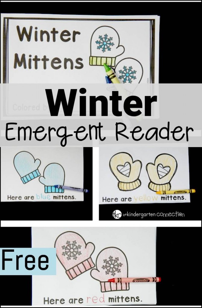winter emergent reader pin