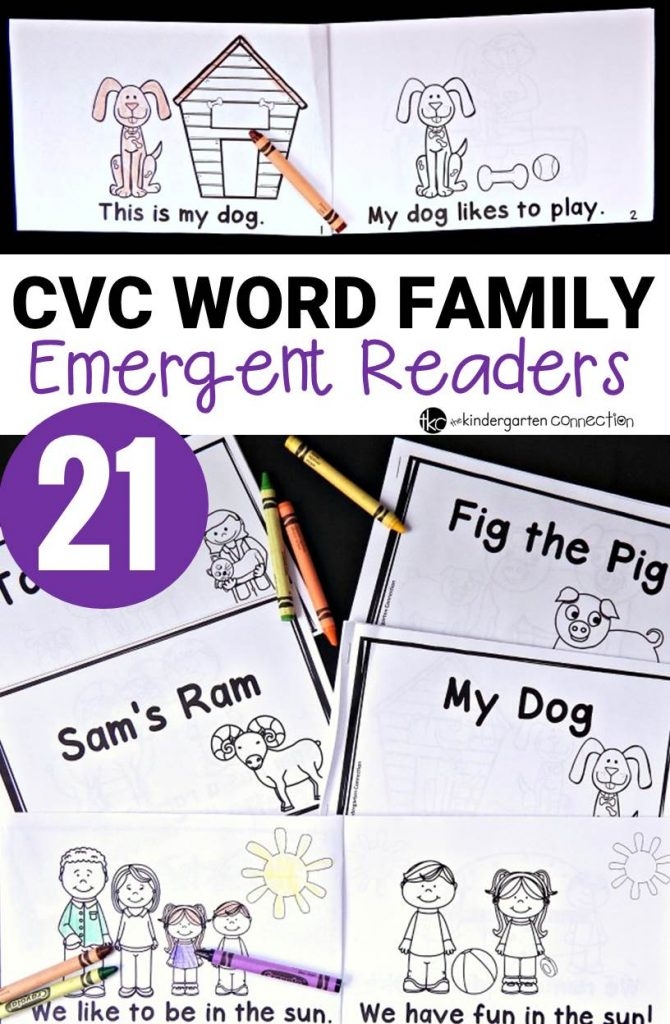 Build fluency and confidence with these 21 CVC word family emergent readers! Quick to print, staple, and read!