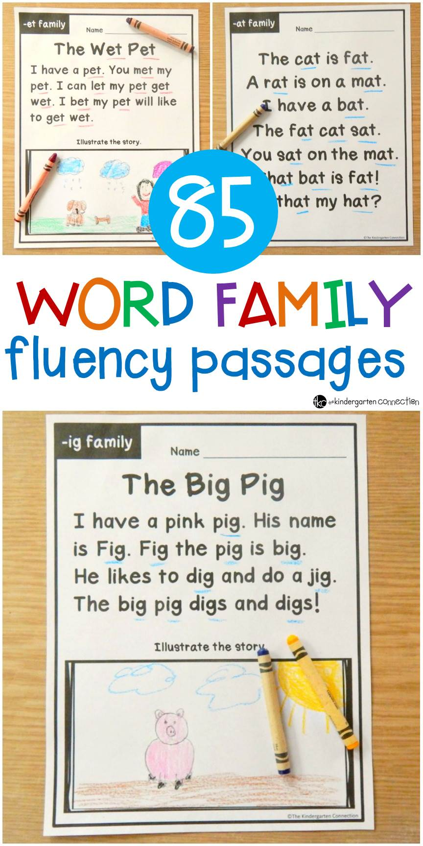 Build word family and sight word fluency with these 85 word family fluency passages. They are perfect for early readers in Kindergarten and 1st grade!