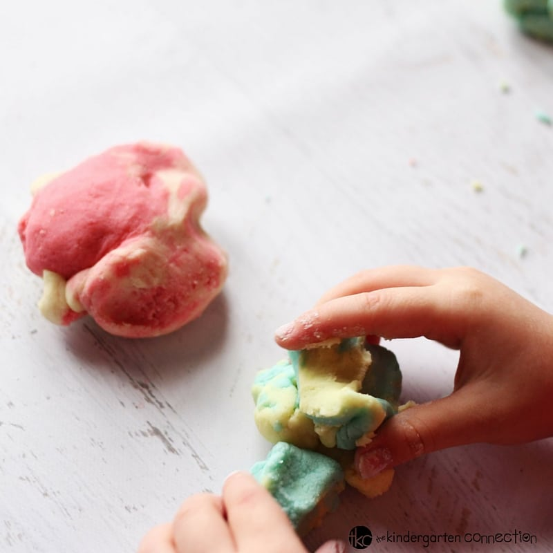 This super fun rainbow play dough kit is perfect for spring or St. Patrick's Day! So many possibilities for sensory play and hands on learning!