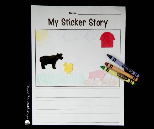 Get kids excited and engaged with writing by using foam stickers as writing prompts! Grab the free writing sheet and you have a new writing activity ready to go!