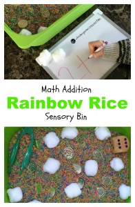 math addition rainbow rice sensory bin