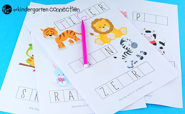 These free animal themed missing letters activity sheets are perfect for early writers! They make a super fun kids' writing activity or writing center!