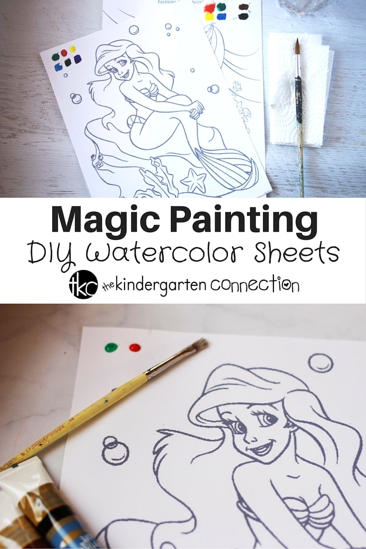 DIY Magic Watercolor Painting Sheets are a great quiet time activity or mess-free art activity for kids. Use as a fun art lesson too!