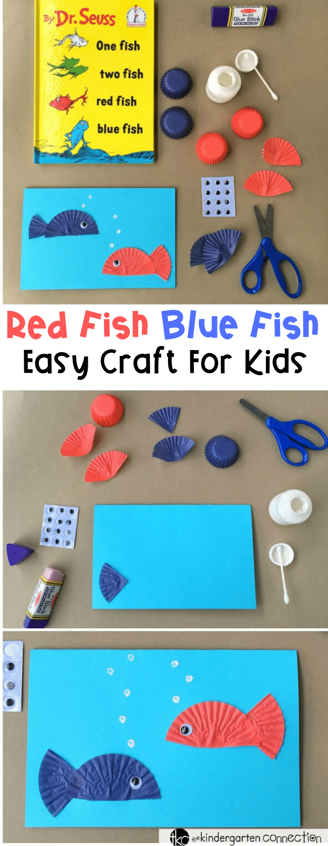 """This Dr. Seuss day craft is perfect for after reading """"One Fish Two Fish Red Fish Blue Fish!"""" Make a fun card and work on writing skills as well! #readingacrossamerica #drseussday #drseusscraft #craftsforkids"""