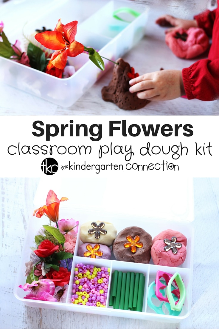 April Showers bring Spring Flowers - and plenty of opportunities to play with a spring flower play dough kit while you're stuck inside with the kids!
