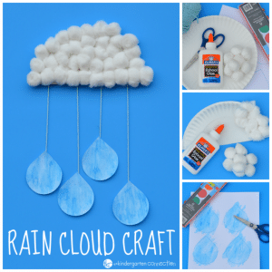 Rain Cloud Craft For Kids on Paper Plate Umbrella Craft