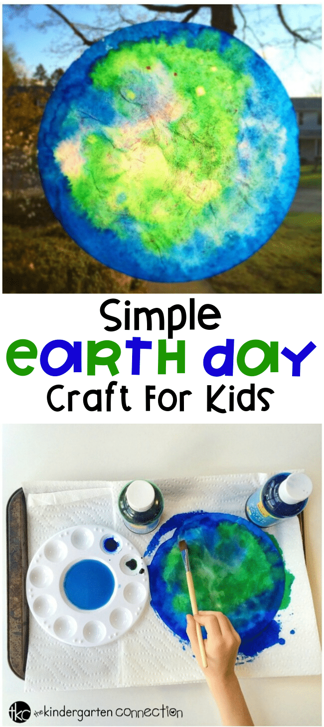 This Earth Day craft for kids is a fun, hands on art project that teaches kids about the structure earth's surface. They are a beautiful to display! #earthdaycraft #earthday #classroomcraft #paintingwithkids