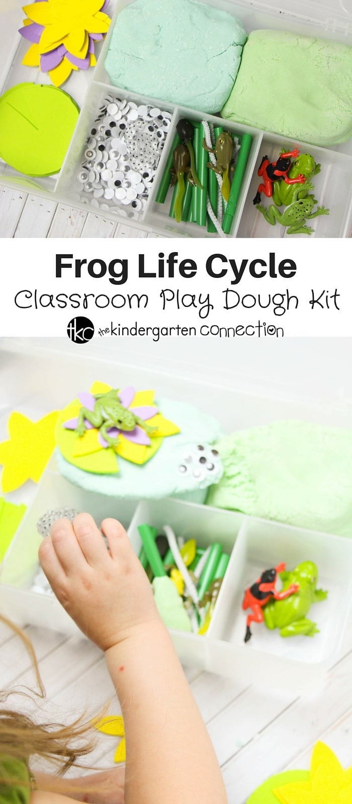 Frog Life Cycle Classroom Play Dough Kit - a perfect Spring-themed sensory play meets science. Teach kids all about the life cycle of a frog with this hands-on sensory experience