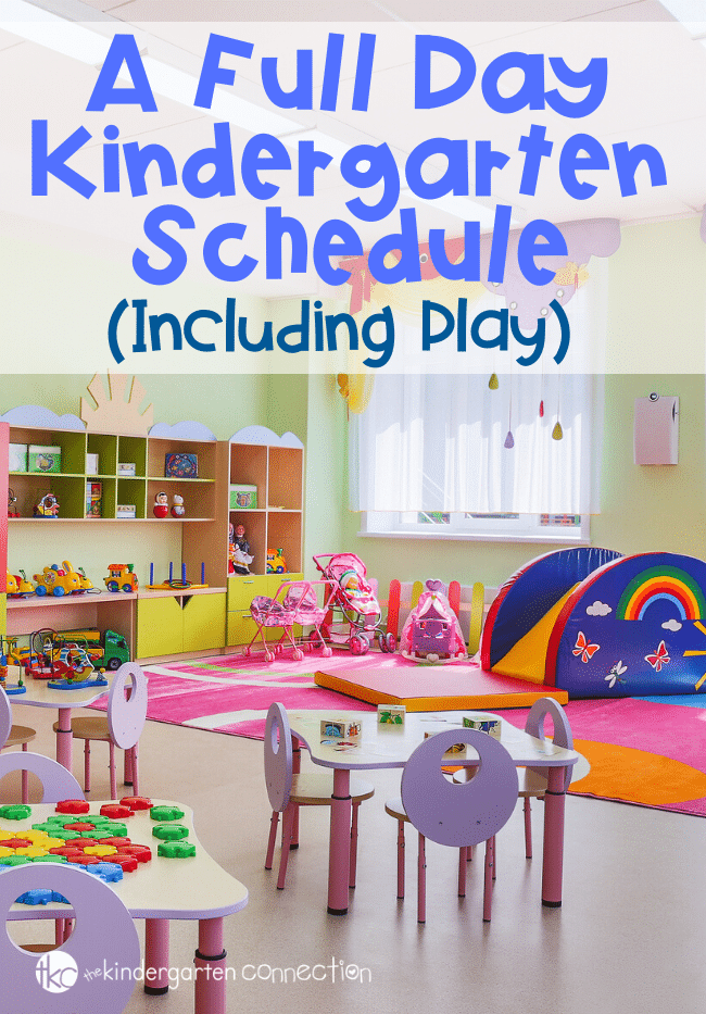 An interesting look into a full day kindergarten schedule that incorporates play into their day! A great article for early childhood teachers to consider. #teacherlife #teacheradvice #kindergartenschedule #playfullearning