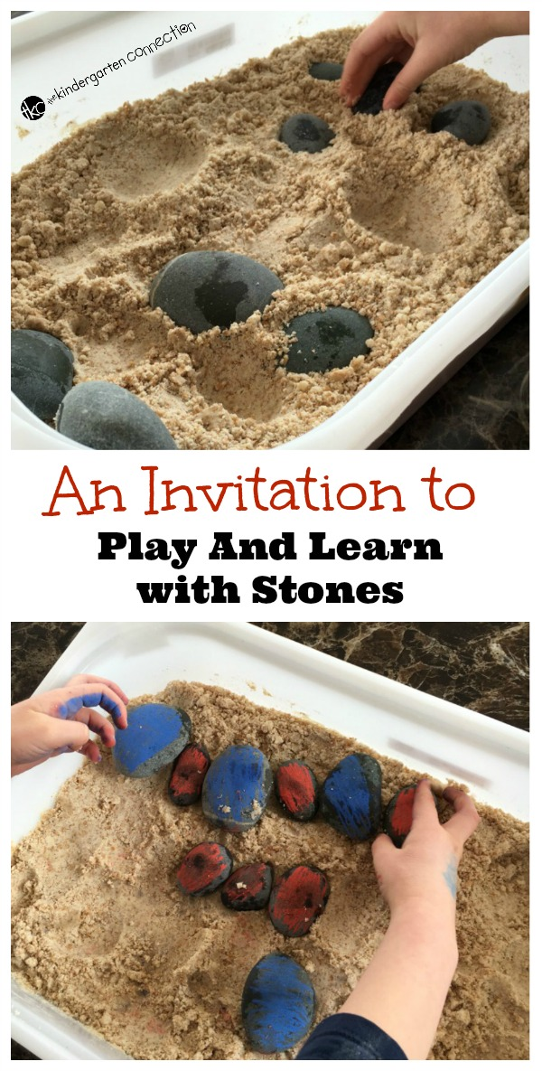 Grab some stones and this easy recipe for moon sand for a great activity to play and learn with your kids! Work on patterning, sorting, and more!