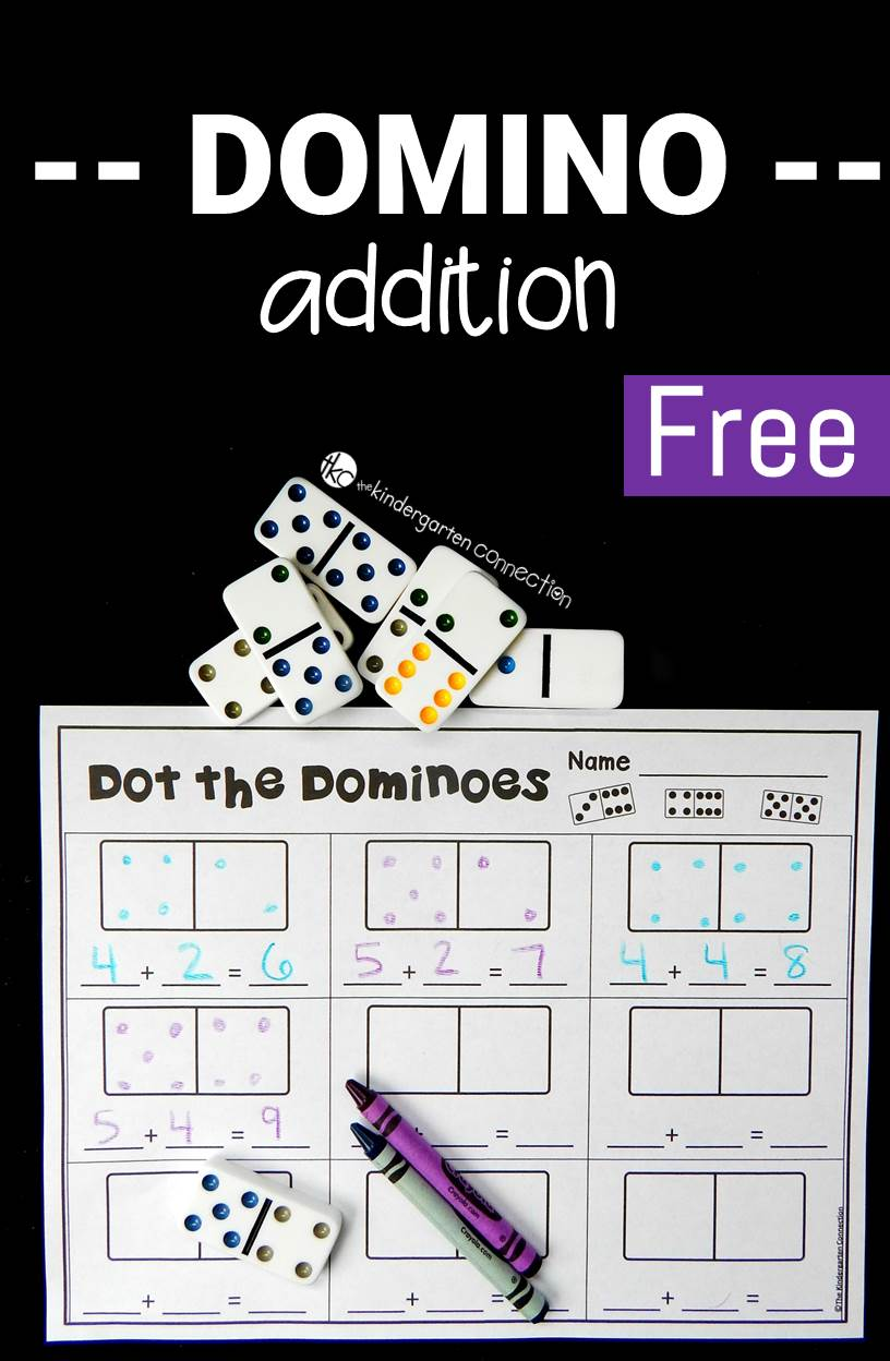 math worksheet : domino addition  the kindergarten connection : Domino Math Games For Kindergarten