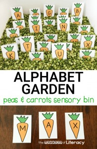Peas and Carrots Alphabet Sensory Bin for the Alphabet. Free Printable for Pre-K and Kindergarten!