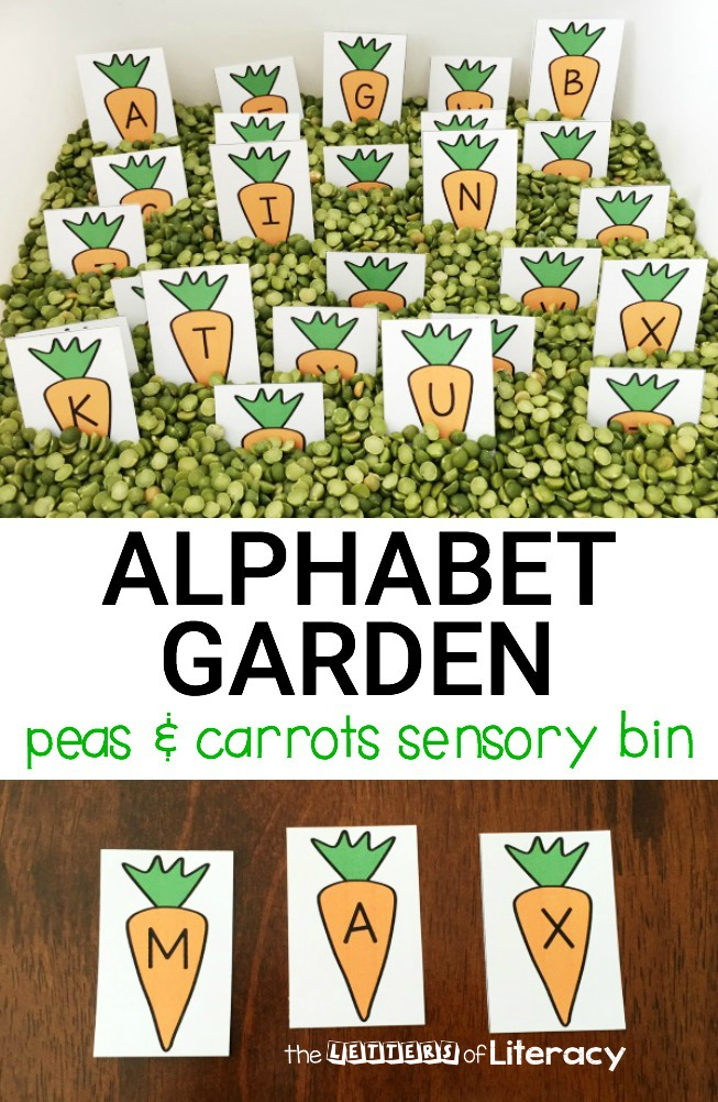 Peas And Carrots Alphabet Sensory Bin The Letters Of