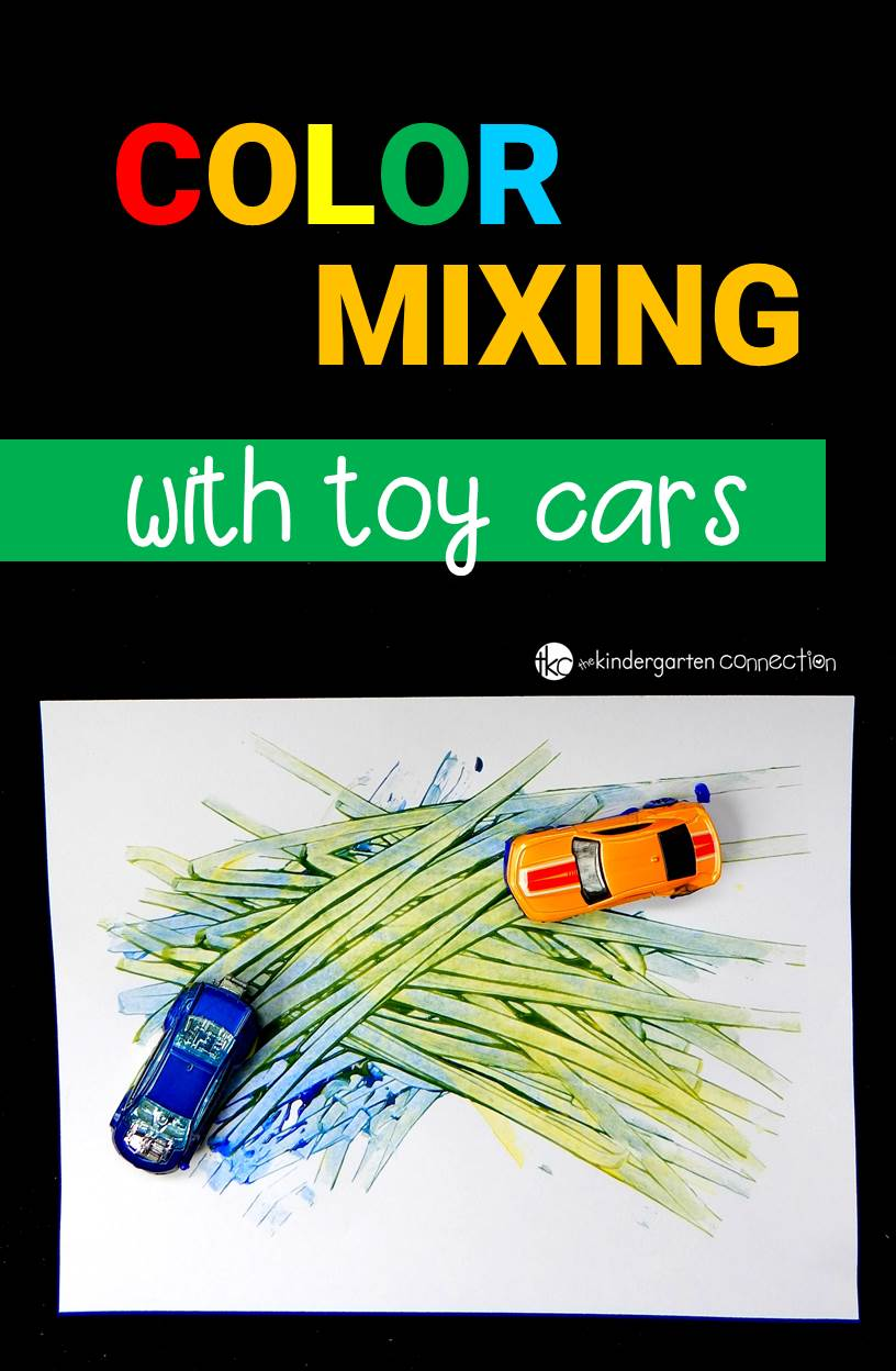 Learn about colors with this super fun color mixing activity! Grab some toy cars and paint for an engaging experiment your kids will love!