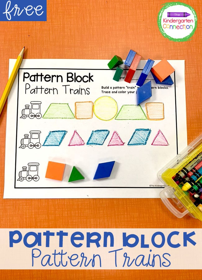 Work on identifying shapes and making patterns with this free pattern block train activity - perfect for Kindergarten math centers!