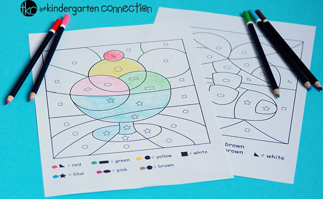 Color By Shape Printables - The Kindergarten Connection