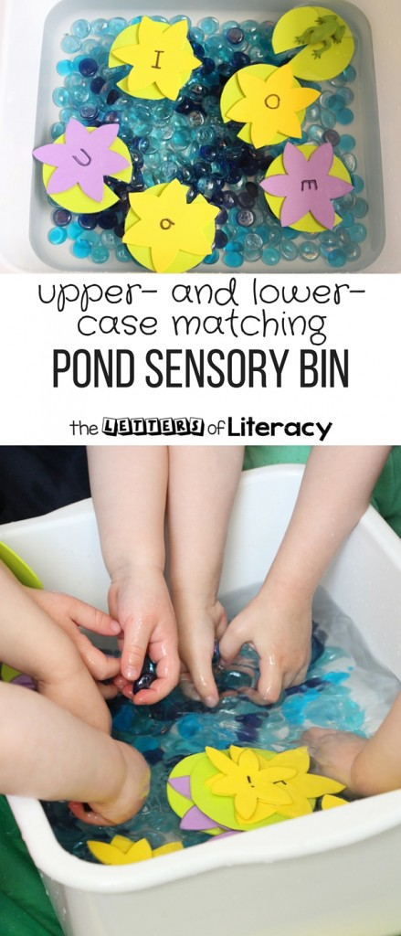 DIY Uppercase and Lowercase Alphabet Match Pond Sensory Bin for Pre-K and Kindergarten!