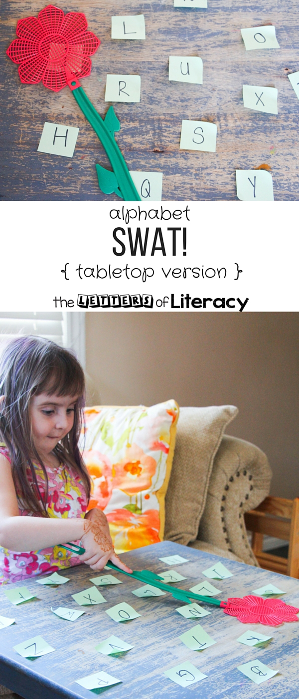 Work on letter recognition with this fun yet low-key version of alphabet swat! The tabletop version is great for classrooms or small spaces.