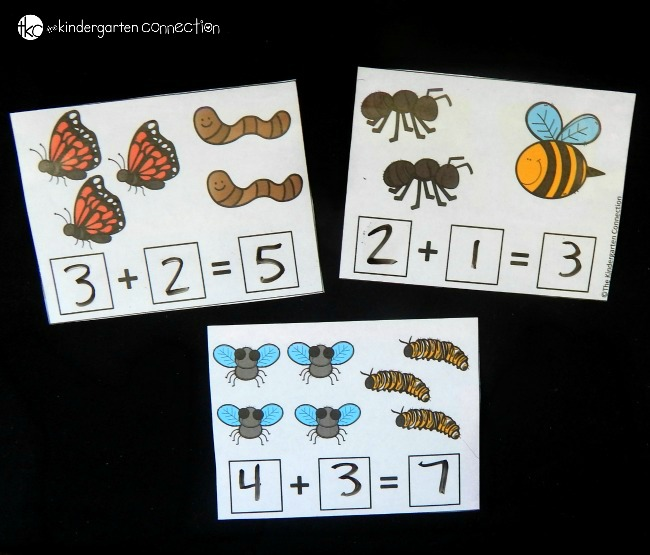 Work on beginning addition with these fun and free bug addition cards! Perfect for kindergarten and first grade math activities.