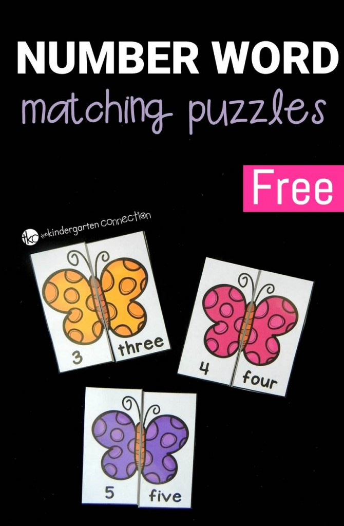 FREE Number Word Matching Puzzles for Kindergarten!