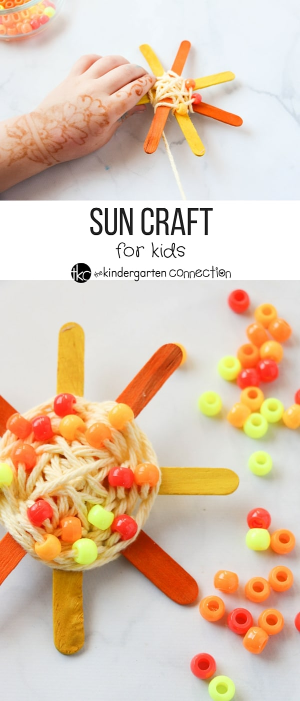 This simple sun craft is the perfect summer craft for kids! The suns are bright and colorful, and they build up fine motor skills as well!