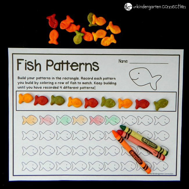 Work on building color patterns while having a fun snack too! Grab some fish crackers, build and record your patterns with this fun math activity for kids!