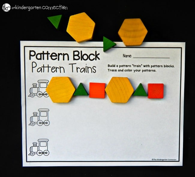 graphic relating to Printable Pattern Blocks identify Practice Block Trains - The Kindergarten Marriage