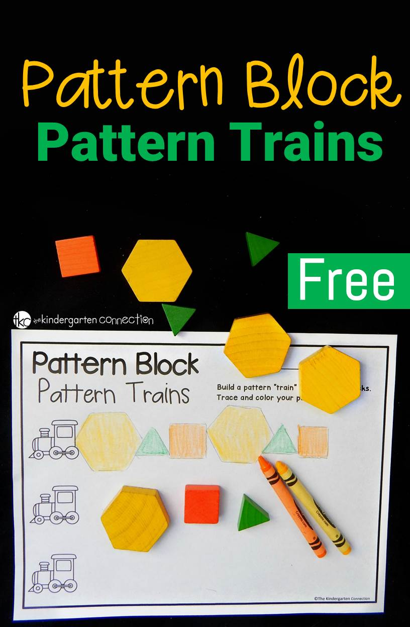 Work on identifying shapes and making patterns with this super fun pattern block train activity! Grab the free printable for an instant math center!