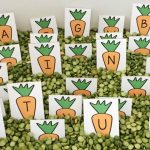 Peas and Carrots Alphabet Sensory Bin