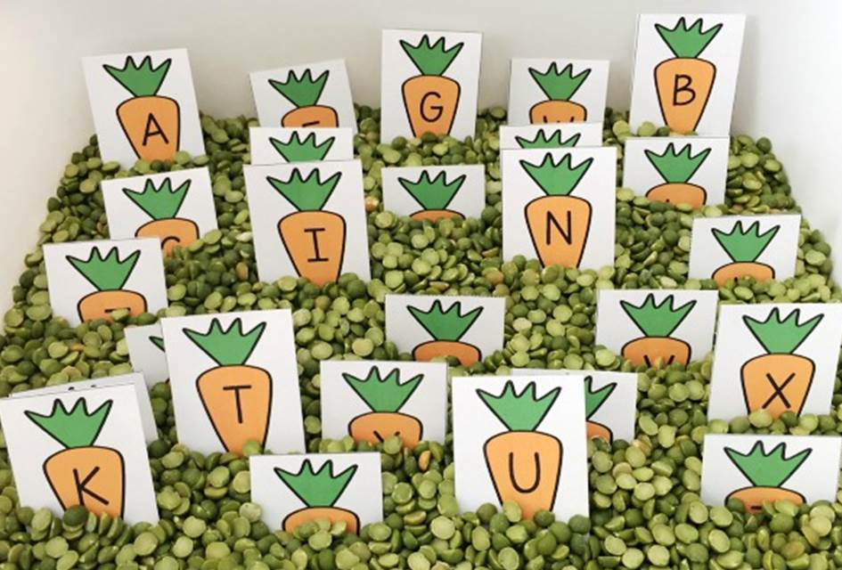 peas and carrots alphabet bin slider