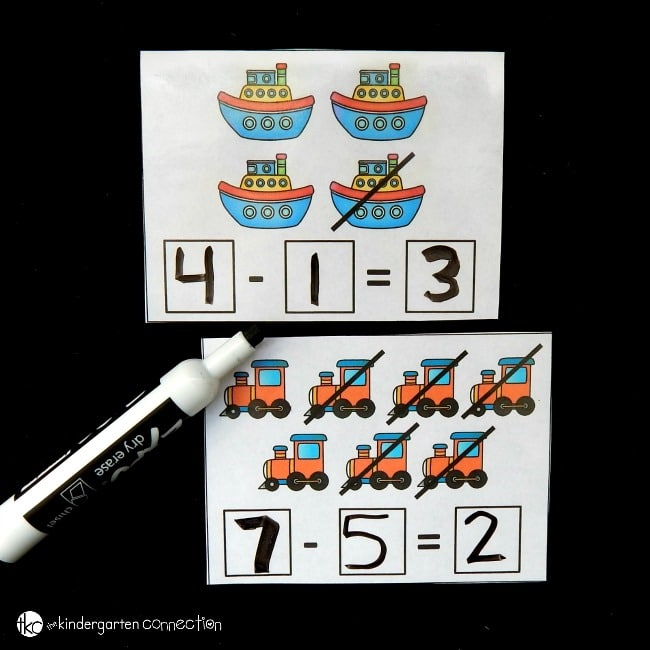 transportation subtraction cards square