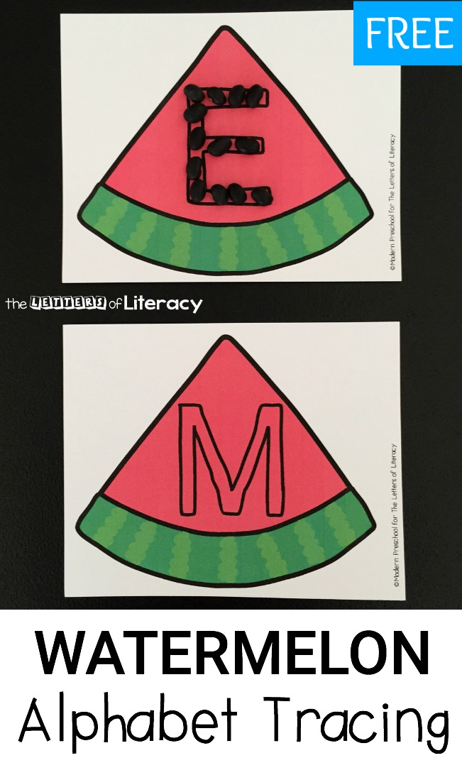 Have a blast with letter formation with your preschool or kindergartener with these fun and free watermelon seed alphabet tracing cards!