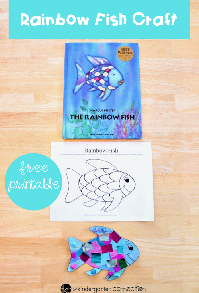 """This rainbow fish craft is the perfect companion to the beloved book """"The Rainbow Fish."""" It is so bright and colorful - kids love it! #kidscrafts #literacycenter #freeprintable #craftivity"""