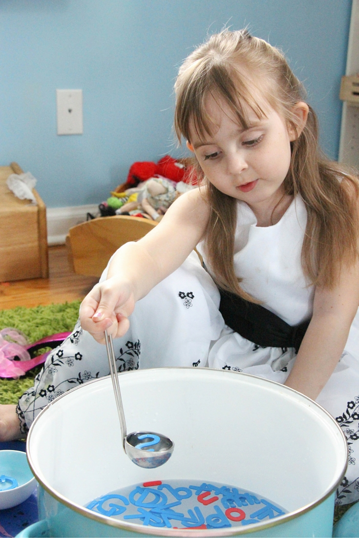"""Practice letter recognition with this fun and engaging """"alphabet soup!"""" Perfect for a water table and fun sensory play in preschool and kindergarten."""