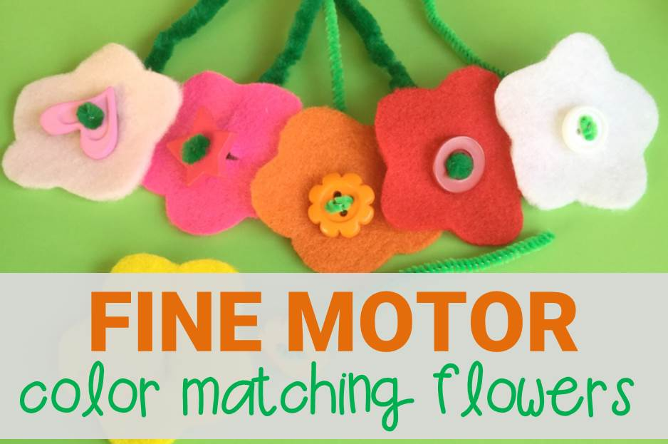 fine motor color matching flowers