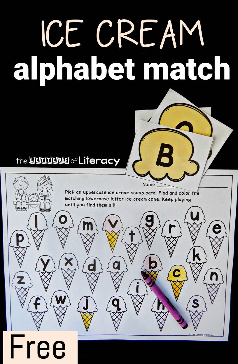 Did somebody say ice cream? This printable alphabet match game is a great way to work on upper and lowercase letter identification.