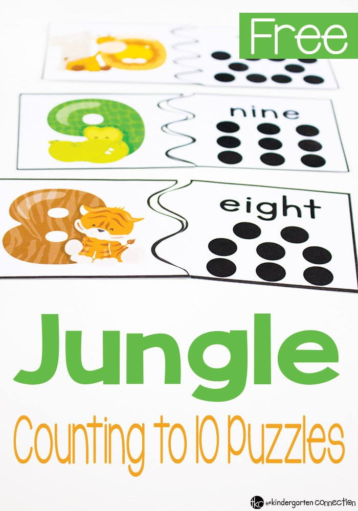 These jungle animal counting puzzles are perfect for preschoolers and kindergarteners to practice counting to 10 and recognizing numbers!