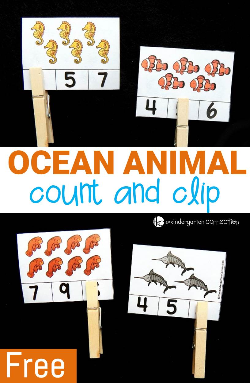 Ocean Animal Count And Clip Cards The Kindergarten