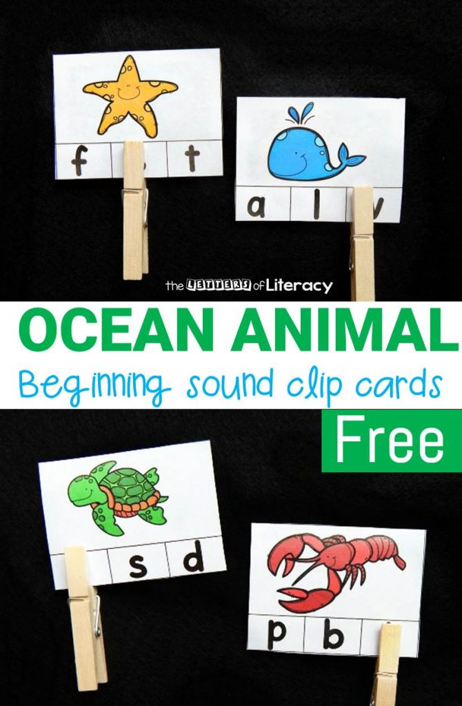 FREE Printable Ocean Animal Beginning Sound Clip Cards for pre-K and kindergarten!