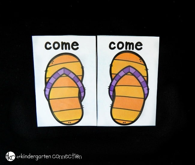 Work on sight words with this fun and free flip flop sight word match! Great for working on left and right too - plus, it's fully editable - use any words!