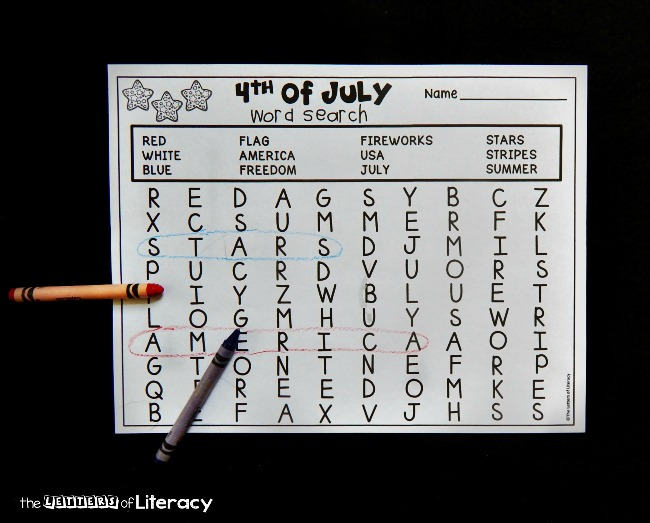 This 4th of July word search is perfect for early readers. The words only go left to right or down, making it just the right level of difficulty!