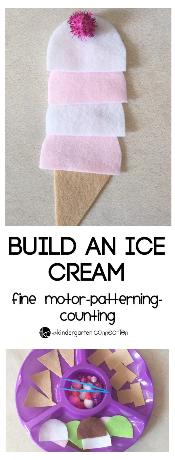 This build an ice cream activity is a great way to build patterning skills, counting, beginning addition and more in a fun, hands on way!