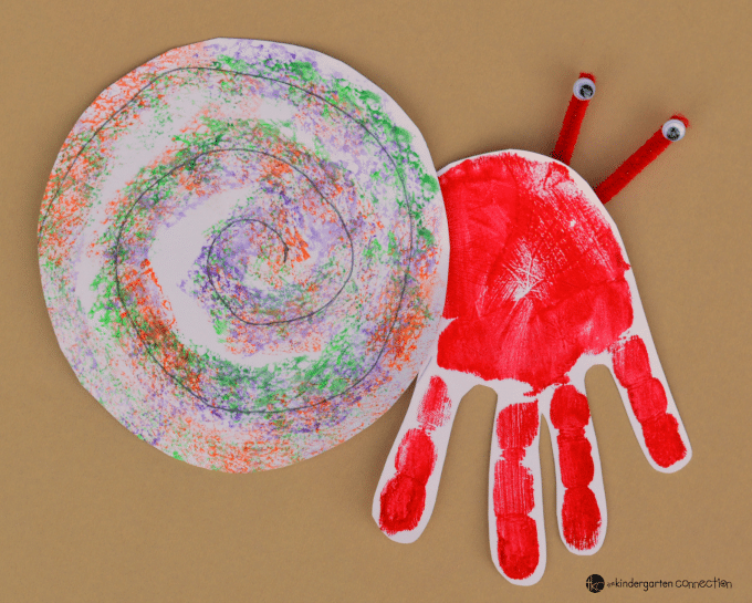 This handprint hermit crab craft for kids is a great extension of the Eric Carle book, A House for Hermit Crab and makes a great classroom display!