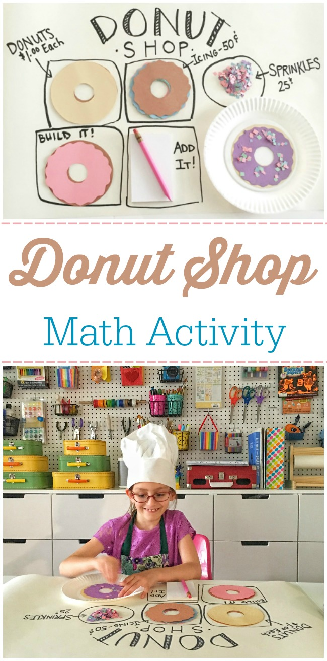 This donut shop math activity is perfect for kids of any age! Work on counting, addition, money, and so much more with this fun learning activity.
